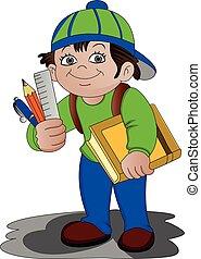 accessories., garçon, école, vecteur, tenue