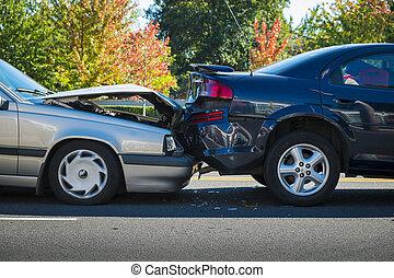 accident automatique, deux, impliquer, voitures