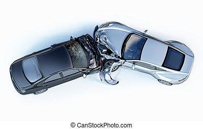accident., ecrasé, voitures, deux, top., affiché