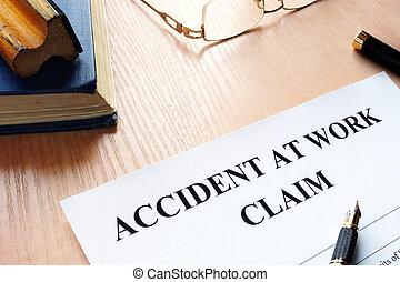 accident, réclamation, table., travail, lunettes