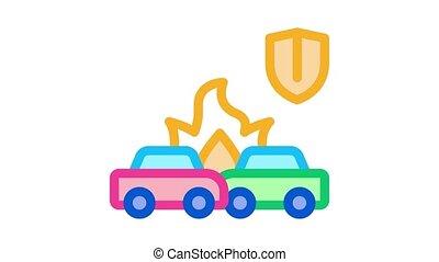 accident, voiture, animation, icône, fracas, assurance
