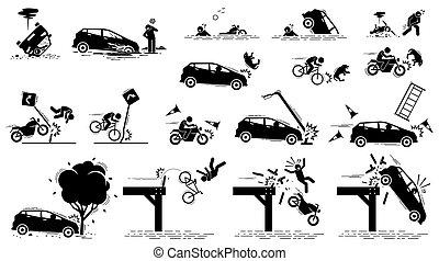 accident voiture, danger route, trafic, mishap.