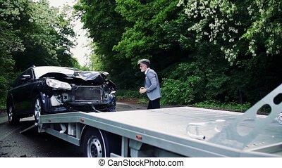 accident., voiture, prendre, après, cassé, mûrir, images, homme