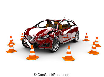 accident, voiture rouge