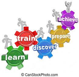accomplir, but, gens, train, série, découvrir, pratique, haut, marqué, ou, étudiants, engrenages, chaque, mission, plusieurs, apprendre, montée, réaliser, engrenage
