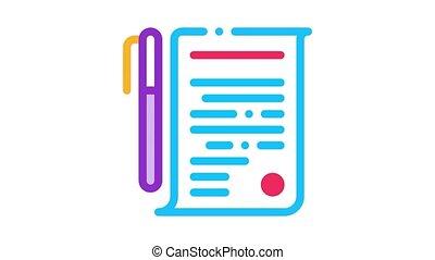 accord, stylo, icône, animation