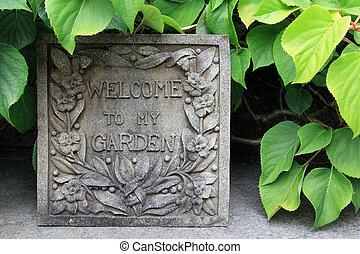 accueil, jardin, signe