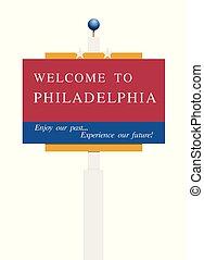 accueil, philadelphie, panneaux signalisations