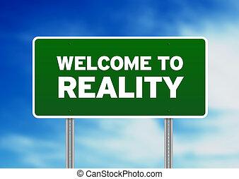 accueil, -, réalité, vert, signe, route