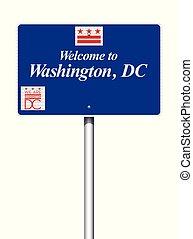 accueil, washington dc, panneaux signalisations