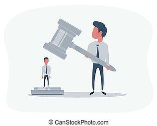 accusé, justice, personne, tribunal, law., attente, issuance, verdict