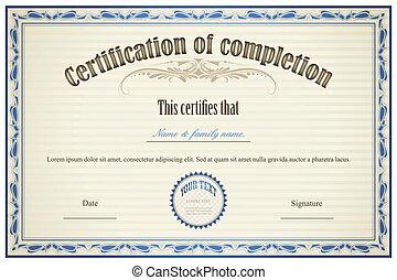 achèvement, certificat