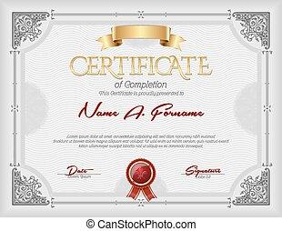 achèvement, certificat, vendange