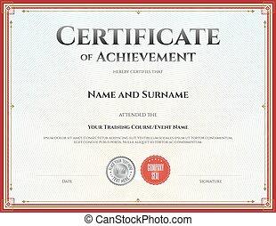 achèvement, vecteur, gabarit, certificat, remise de diplomes, accomplissement