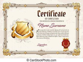 achèvement, vendange, cadre, certificat