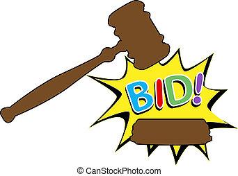 achat, enchère, offre, marteau, dessin animé, icône
