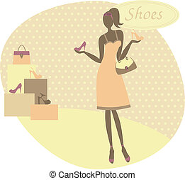 achat, femme, chaussures