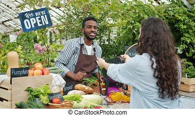 achat, femme, ferme, organique, légumes, marché, nourriture, client, pain