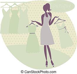 achat, femme, robe