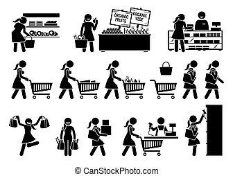 achat, magasin, fruits, icons., femme, viande, crosse, épicerie, légumes, figure