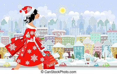 achat, mode, city., panorama, seamless, santa, girl