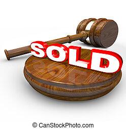 achat, mot, enchère, vendu, -, proclaims, vente, marteau, final
