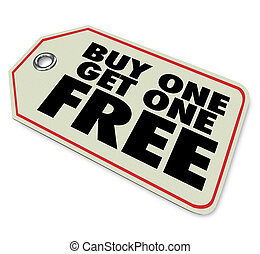 achat, obtenir, coût, vente, gratuite, une, étiquette, promotion, spécial