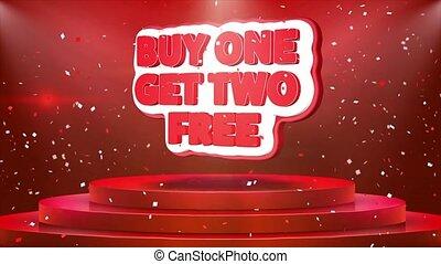 achat, obtenir, texte, deux, gratuite, une, podium, animation, confetti, boucle, étape