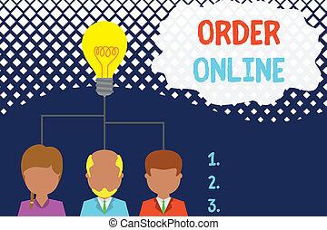 achat, ou, idée, photo, conceptuel, produits, online., sur, démarrage, équipe, cadre, business, internet, projection, écriture, meeting., texte, partage, personnes, ordre, main, trois, activité, services