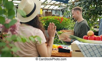 achat, serre, magasin, conversation, organique, aide, nourriture, vente, clients