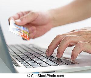 achat, usage, marchandises, argent, payer, crédit, via, internet, carte