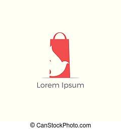 achats, agence voyage, sac main, vecteur, logo, stylique oiseau, design.