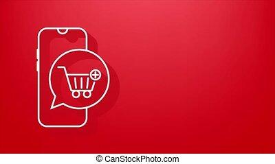 achats, ajouter, icon., graphics., mouvement, charrette