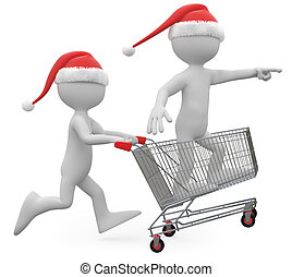 achats, claus, santa, pousser, charrette