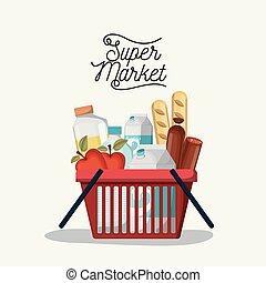 achats, coloré, affiche, supermarché, nourritures, panier, boissons
