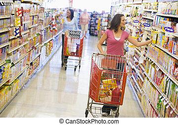 achats, deux, supermarché, femmes