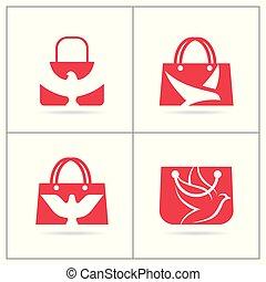 achats, ensemble, agence voyage, sac main, vecteur, logo, stylique oiseau, design.