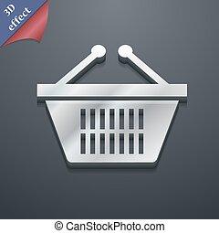 achats, espace, texte, moderne, symbole., style., branché, vecteur, conception, panier, 3d, ton, icône