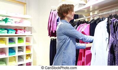 achats femme, élégant, joli, magasin, vêtements