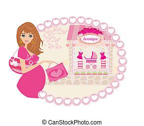 achats femme, bébé, pregnant, elle, nouveau, beau