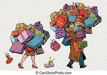 achats femme, couple, ventes, vacances, homme