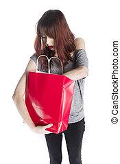 achats femme, jeune regarder, sac, rouges