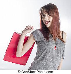 achats femme, jeune, sac, tenue, rouges