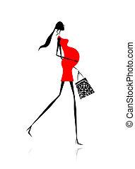 achats femme, pregnant, sac, conception, ton