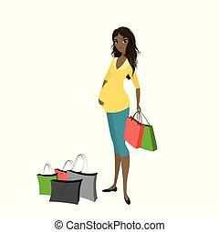 achats femme, sacs, américain, africaine, pregnant