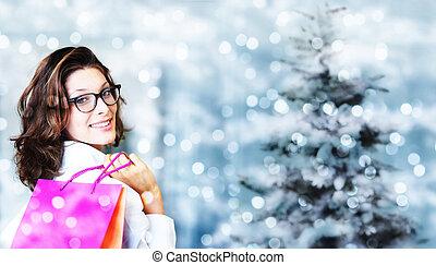 achats, femme, sacs, brouillé, clair, sourire, li, noël
