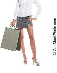 achats femme, sacs, fond, sexy, blanc, jambes