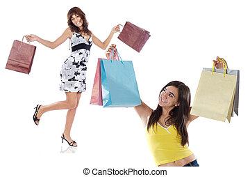 achats, filles, deux, jeune