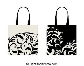 achats, floral, sac, conception, ornement