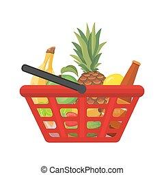 achats, foods., illustration, vecteur, panier, dessin animé